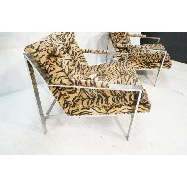 Pair of Cy Mann lounge chairs in the style of Milo Baughman. Featuring wide, flat chromed steel frame. and plush animal...