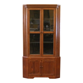 19th Century Country Pine and Oak Corner China Cabinet For Sale