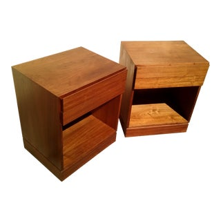 Danish Control Mid Century Modern Teak Bedside Tables - a Pair