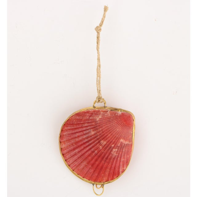 Brass Trimmed Shell Ornaments, Set of 6 For Sale - Image 4 of 9