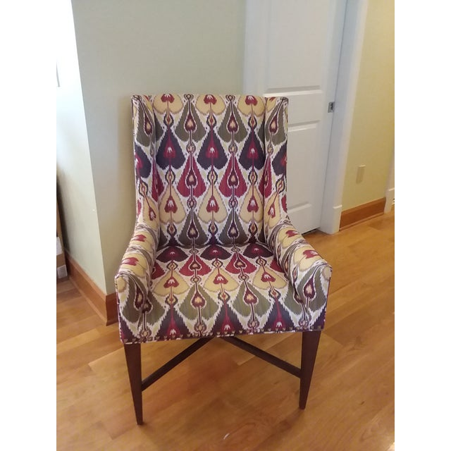 Set of two Pearson side chairs, matching. Beautiful upholstery in shades of red, green and cream, and a dark blueish red....