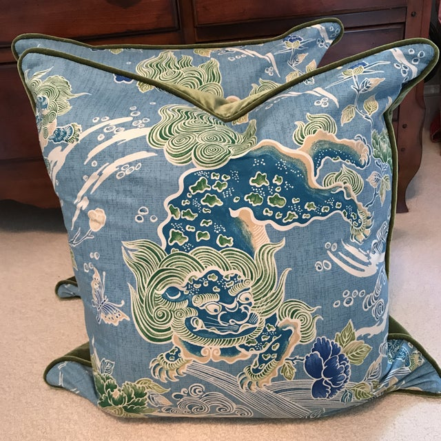 Brunschwig & Fils Shishi Turquoise Pillows - A Pair - Image 2 of 9