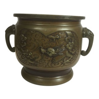 Antique Asian Bronze Hot Coal Pot For Sale