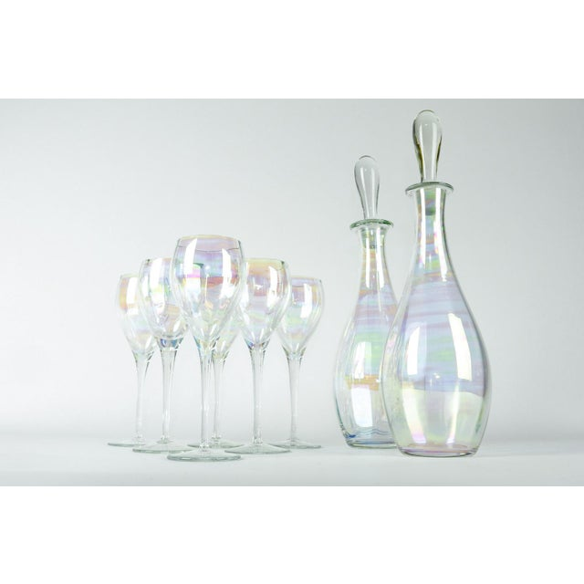 Contemporary Late 20th Century Murano Iridescent Crystal Decanter - Set of 8 For Sale - Image 3 of 7