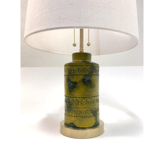 Gold 1970s Italian Ceramic Table Lamps by Bitossi - a Pair For Sale - Image 8 of 9