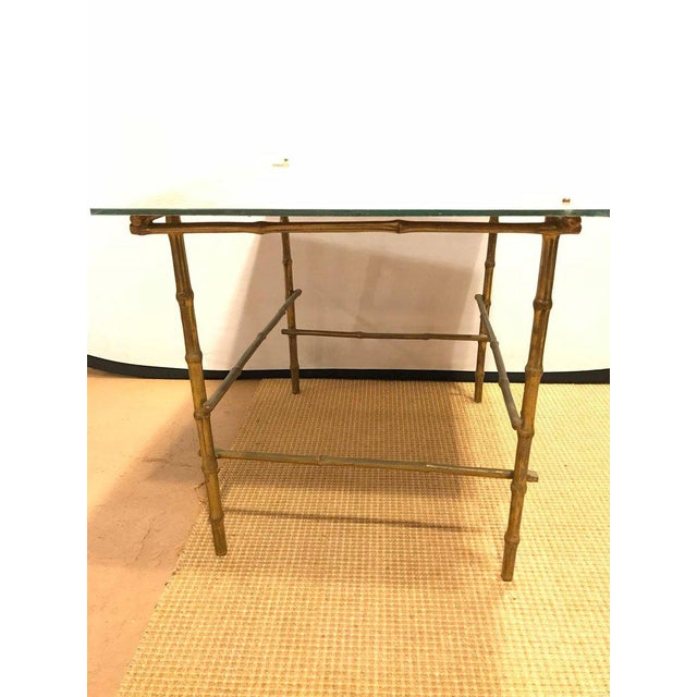 Hollywood Regency Bronze Based Eglomise Top Coffee Table - Image 8 of 10