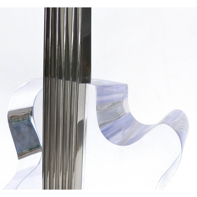 Custom Lucite and Stainless Steel Sculpture of a Guitar For Sale - Image 11 of 13