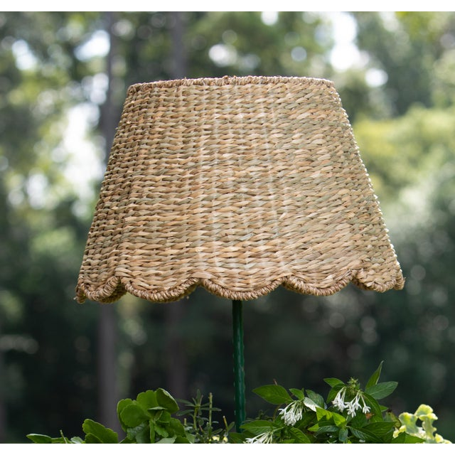 English Maison Maison Medium Scalloped Lampshade in Seagrass For Sale - Image 3 of 3