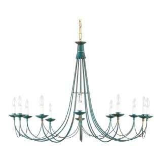 French Vintage 12-Light Metal Chandelier, 1980s