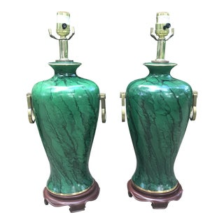 Faux Malachite Ginger Jar Lamps - a Pair For Sale