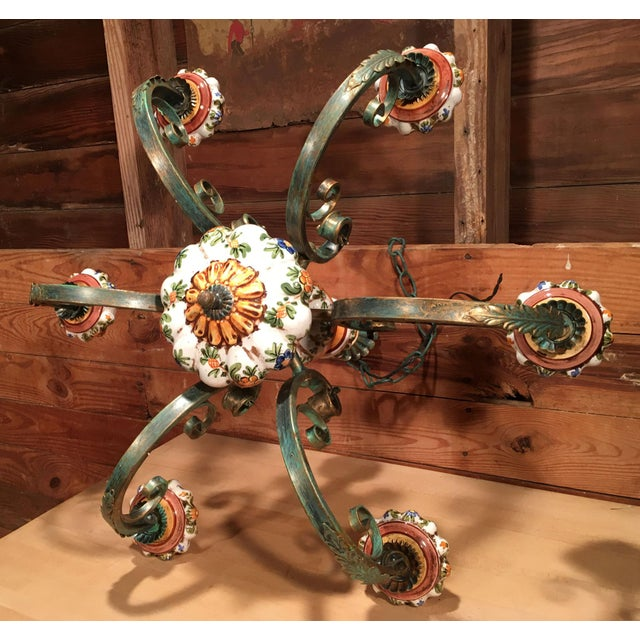 Vintage Italian Tole Painted Pottery Chandelier For Sale In Providence - Image 6 of 8