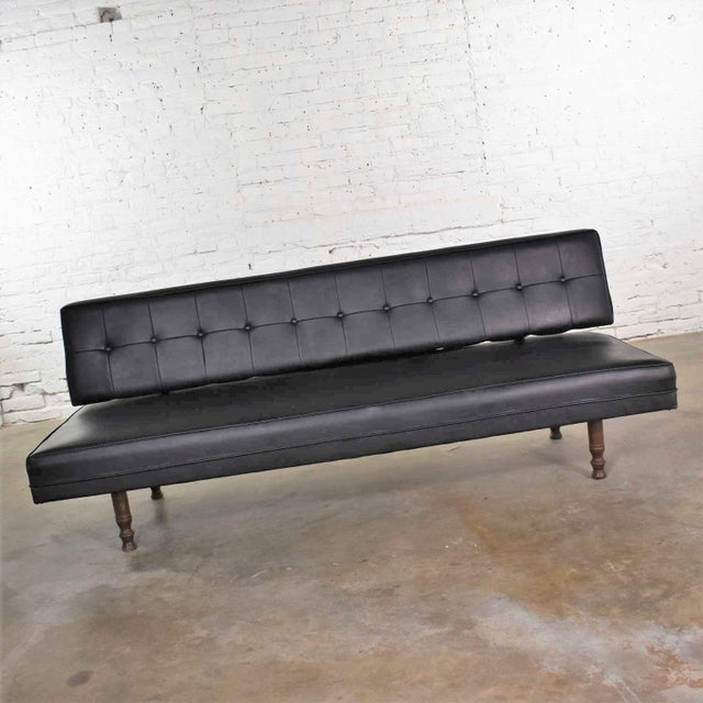 Mid-Century Modern Vintage Mid Century Modern Black Vinyl Faux Leather Convertible Sofa by Universal of High Point For Sale - Image 3 of 13