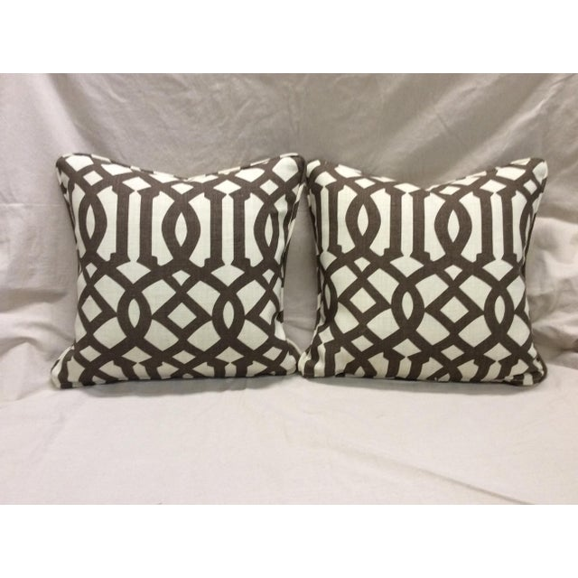 Brown & Neutral Pillows - A Pair For Sale - Image 5 of 7