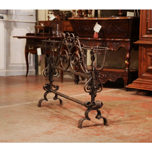 Decorate a fireplace hearth with this impressive, ornate iron screen. Forged in France circa 1760, the important,...