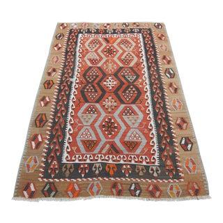 Vintage Turkish Kilim Handmade Flatweave Rug For Sale