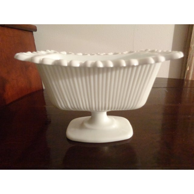 1960s Mid-Century Modern White Milk Glass Soap Dish For Sale - Image 4 of 6