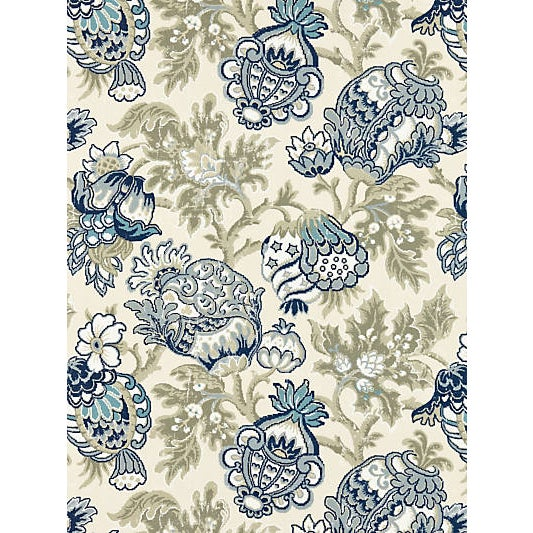 Traditional Scalamandre Canterbury Linen Print, Oyster & Indigo For Sale - Image 3 of 3