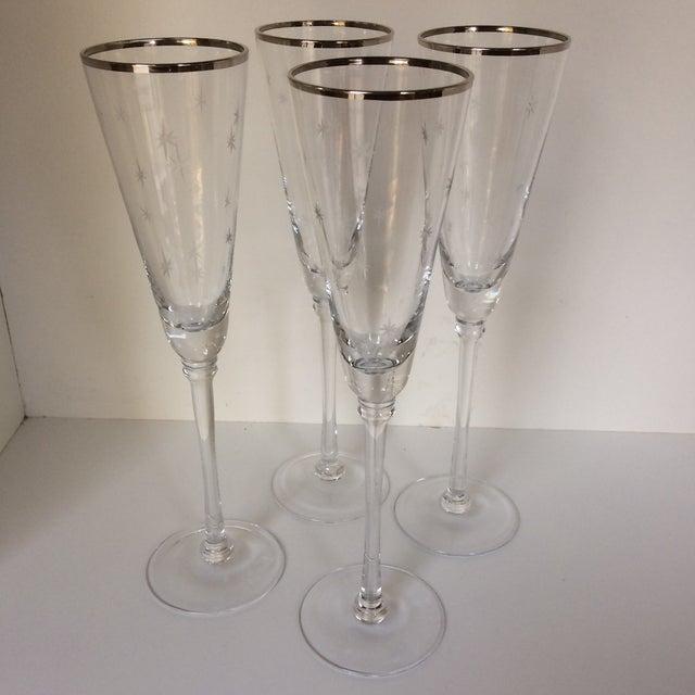 Set Of 4 Silver Rim Etched Starburst Champagne Flutes For Sale - Image 11 of 11