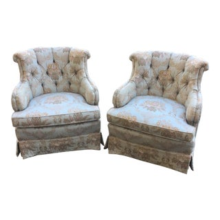 Henredon Tufted Club Parlor Chairs - a Pair