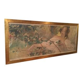 Art Nouveau 'Lady & Flowers' Poster For Sale