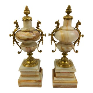 French Marble Urns in Beige and Rust with Bronze Mounts
