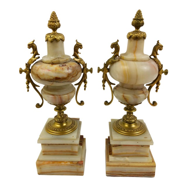 Pair of French Marble Urns in Beige and Rust with Bronze Mounts For Sale