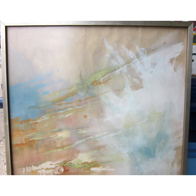 This is a vintage mid century era original abstract painting on paper, framed behind glass. It is a soft, evocative...