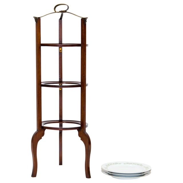 Metal 3-Tier Serving Stand W Brass Handle For Sale - Image 7 of 11