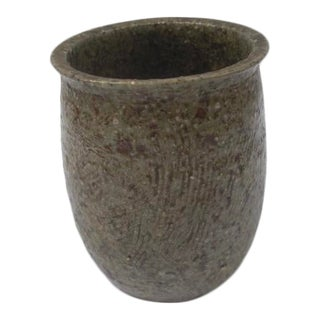 1960 Heavily-Textured Ceramic Rimmed Vase For Sale