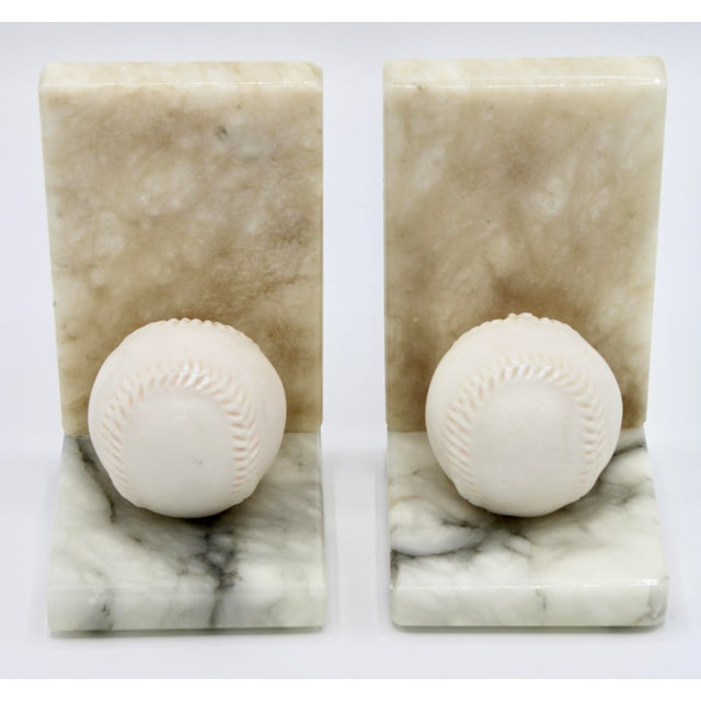 Mid Century Italian Alabaster Baseball Bookends For Sale - Image 9 of 10