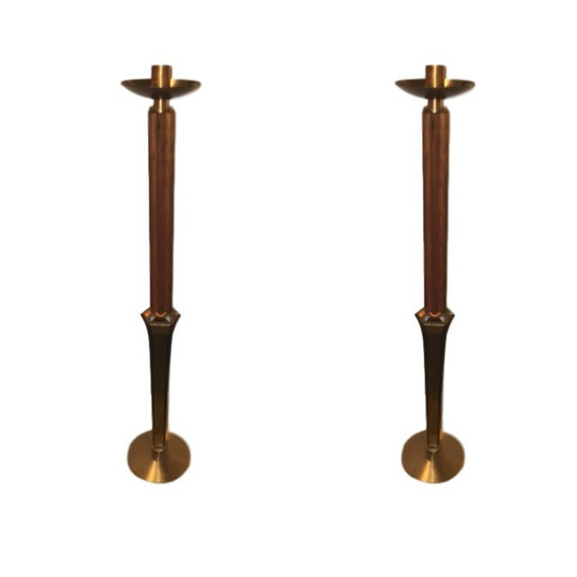 Teak and Brass Standing Prickets - Pair - Image 1 of 6