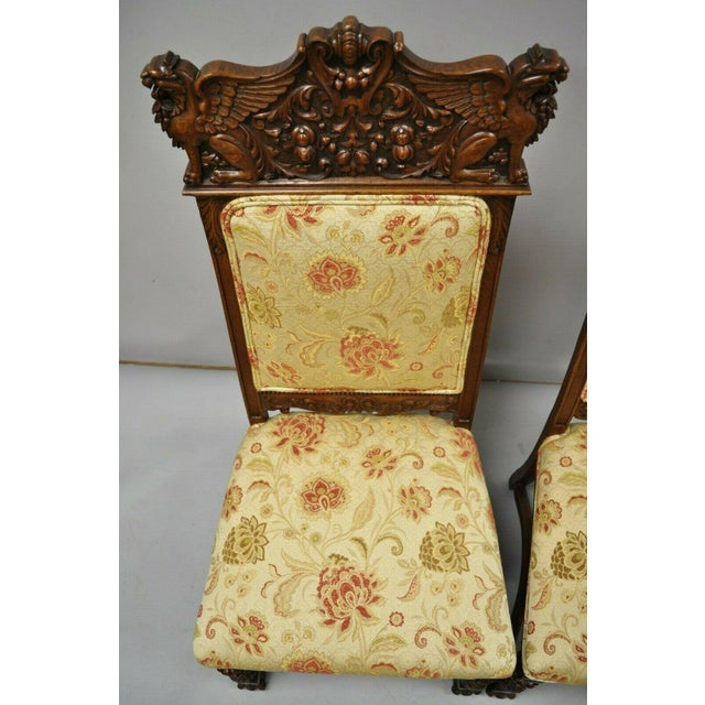 Late 19th Century Vintage Carved Oak Winged Griffin Paw Foot Dining Chairs- A Pair For Sale - Image 4 of 12
