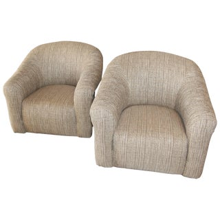 Pair of Comfortable Swivel A. Rudin Chairs and Matching Ottomans