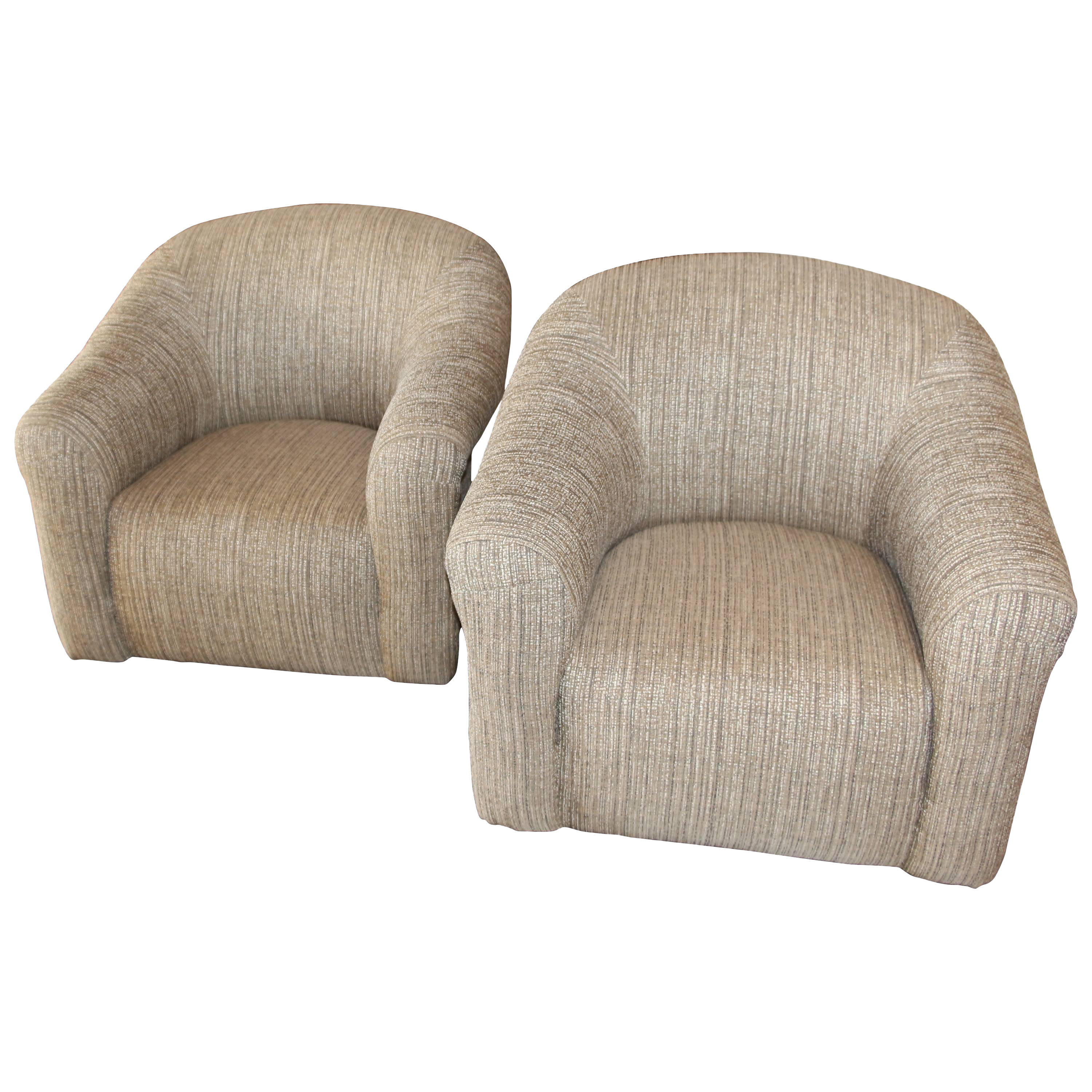 Pair of Comfortable Swivel A. Rudin Chairs and Matching Ottomans  sc 1 st  Decaso & Antique u0026 Designer Cream Club Chairs | DECASO