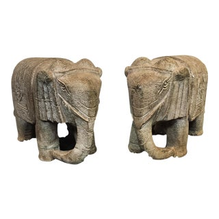 LG Stone Elephant Sculptures - a Pair