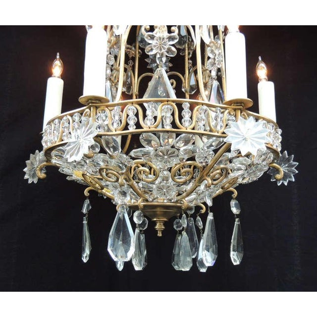 Gold Early 20th C French Bronze Crystal Chandelier, attributed to Maison Baguès For Sale - Image 8 of 10