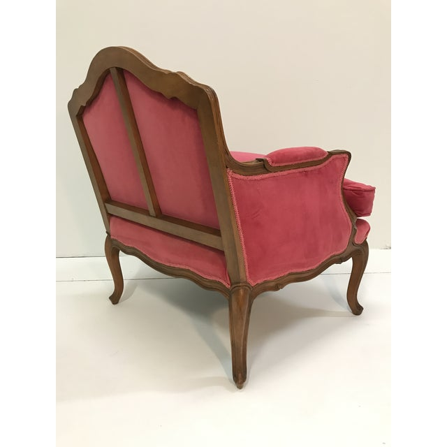 Wood Louis XV Revival Pink Velvet Vintage Country French Wide Bergere Marquise Chair Mahogany Cabriole Legs For Sale - Image 7 of 13