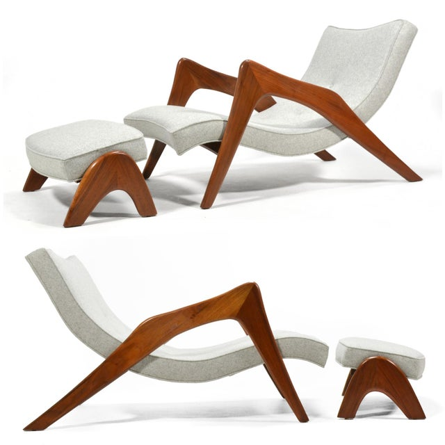 """The long, leggy form of Adrian Pearsall's model 745-LB Crescent chair has also earned it the nickname """"Grasshopper"""" chair...."""