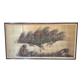 Mid 20th Century Japanese Four Panel Byobu Screen For Sale