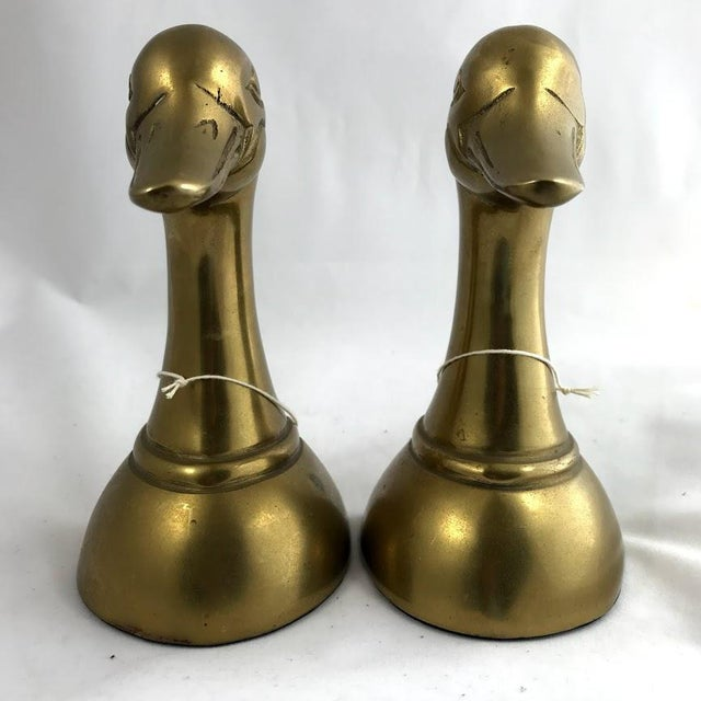 Vintage Mid-Century Modern Brass Mallard Bookends - a Pair For Sale - Image 4 of 8