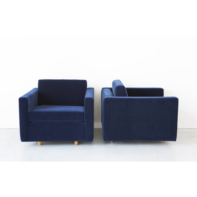 Jack Cartwright Blue Mohair Cube Chairs - Pair - Image 3 of 11
