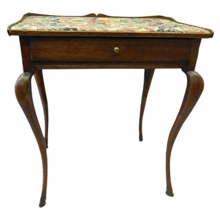 English 18th Century One Drawer Stand With Carpet Top
