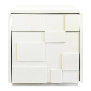 Modernist Cubed White Lacquer Side Table For Sale