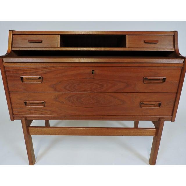 Wood Arne Wahl Iversen Danish Modern Teak Secretary Desk Model 70 For Sale - Image 7 of 12