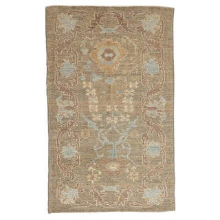 Contemporary Persian Oushak Rug Flower-Patterned in Blue and Brown For Sale
