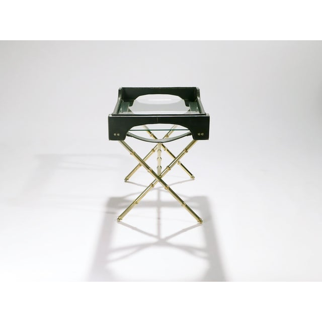 Jacques Adnet Leather and Brass Side Table With Tray, 1950s For Sale - Image 9 of 13
