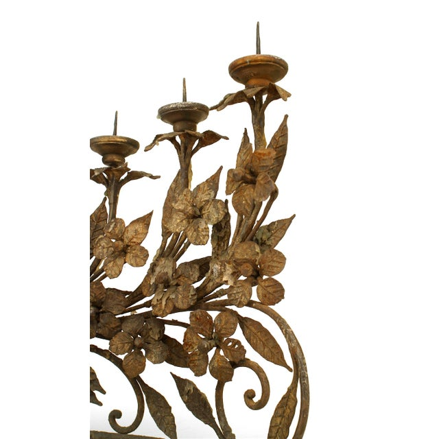 Pair of Italian Renaissance Style Wrought Iron Candelabra For Sale - Image 4 of 6