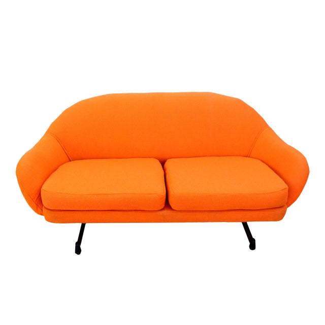 Mid-Century Mod Viko Baumritter Biomorphic Free Form Tangerine Orange Couch For Sale