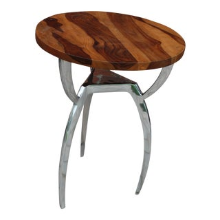 Modern Wood Top and Nickel Legs Accent Table For Sale