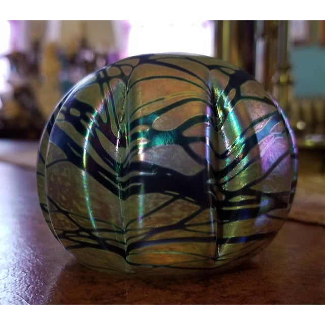 Vintage Brian Maytum Violet & Green Iridescent Paperweight For Sale - Image 6 of 6